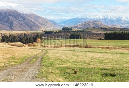 Queenstown neighborhood in the late autumn, South Island, New Zealand.