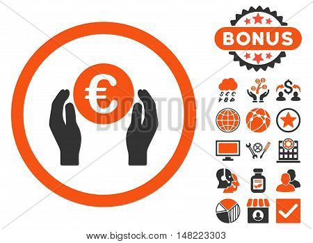Euro Insurance Hands icon with bonus design elements. Vector illustration style is flat iconic bicolor symbols, orange and gray colors, white background.