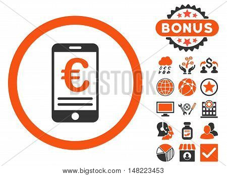 Euro Mobile Bank Account icon with bonus pictures. Vector illustration style is flat iconic bicolor symbols, orange and gray colors, white background.
