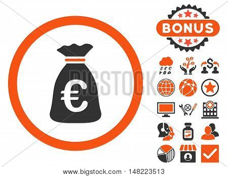 Euro Money Bag icon with bonus design elements. Vector illustration style is flat iconic bicolor symbols, orange and gray colors, white background.