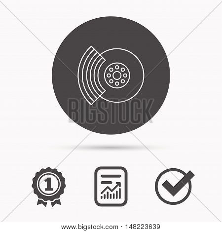 Brakes icon. Auto disk repair sign. Report document, winner award and tick. Round circle button with icon. Vector