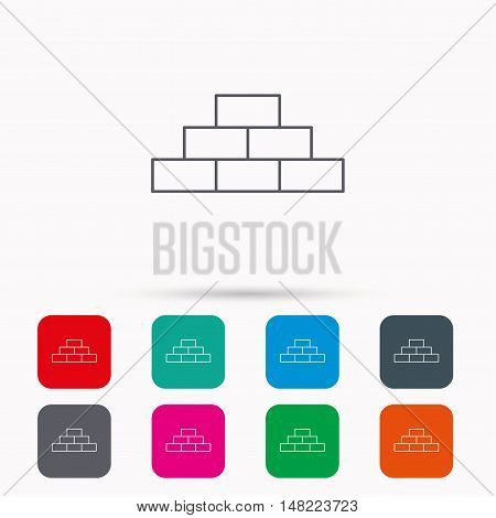 Brickwork icon. Brick construction sign. Linear icons in squares on white background. Flat web symbols. Vector