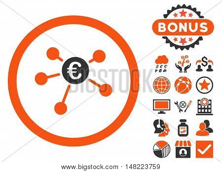 Euro Payments icon with bonus images. Vector illustration style is flat iconic bicolor symbols, orange and gray colors, white background.