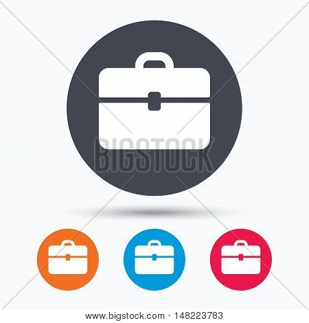 Briefcase icon. Diplomat handbag symbol. Business case sign. Colored circle buttons with flat web icon. Vector