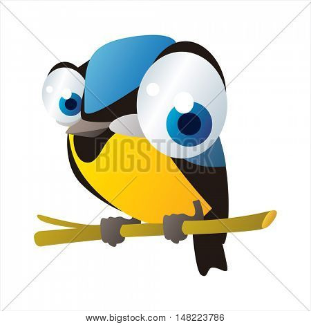 vector cartoon cute animal mascot. Funny colorful cool illustration of happy Titmouse bird