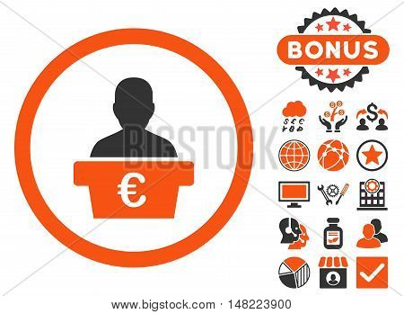Euro Politician icon with bonus elements. Vector illustration style is flat iconic bicolor symbols, orange and gray colors, white background.