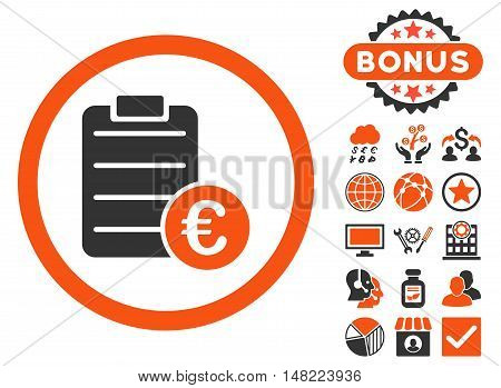 Euro Prices icon with bonus pictures. Vector illustration style is flat iconic bicolor symbols, orange and gray colors, white background.