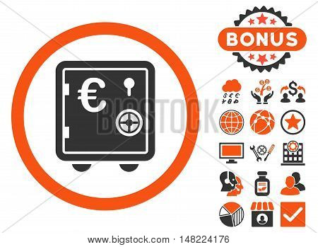 Euro Safe icon with bonus design elements. Vector illustration style is flat iconic bicolor symbols, orange and gray colors, white background.