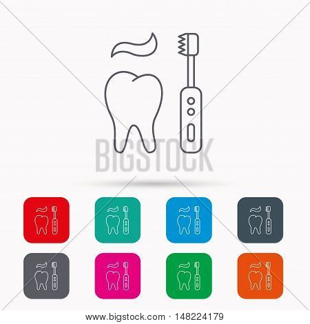 Brushing teeth icon. Electric toothbrush sign. Toothpaste and tooth symbol. Linear icons in squares on white background. Flat web symbols. Vector