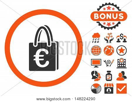 Euro Shopping Bag icon with bonus design elements. Vector illustration style is flat iconic bicolor symbols, orange and gray colors, white background.