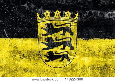 Flag Of Baden-wurttemberg With Coat Of Arms, Germany, Painted On Dirty Wall