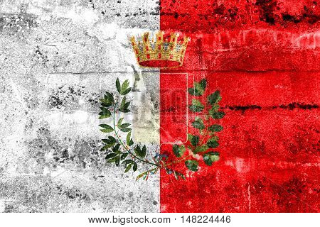 Flag Of Bari With Coat Of Arms, Italy, Painted On Dirty Wall