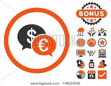 Euro Transactions icon with bonus design elements. Vector illustration style is flat iconic bicolor symbols, orange and gray colors, white background.