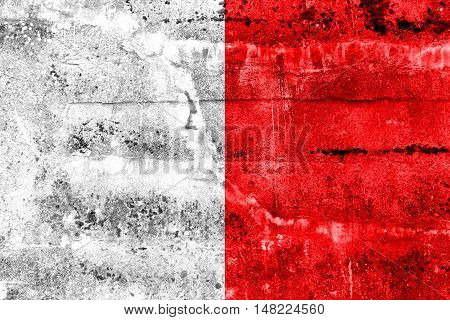 Flag Of Bari, Italy, Painted On Dirty Wall