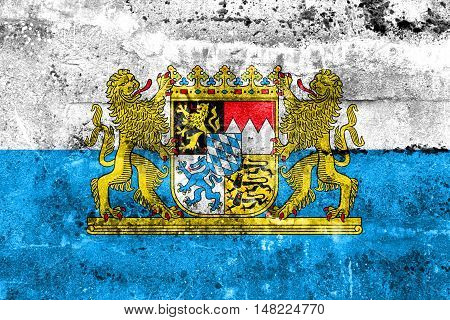 Flag Of Bavaria With Coat Of Arms, Germany, Painted On Dirty Wall