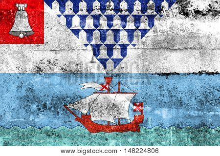 Flag Of Belfast, Northern Ireland, Uk, Painted On Dirty Wall