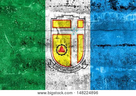 Flag Of Betim, Minas Gerais State, Brazil, Painted On Dirty Wall