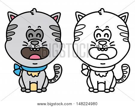 funny cat. Vector illustration coloring page of happy cartoon cat for children, coloring and scrap book