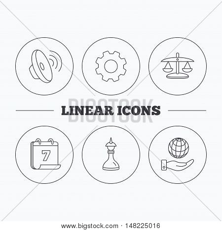 Strategy, sound and scales of justice icons. Save planet linear sign. Flat cogwheel and calendar symbols. Linear icons in circle buttons. Vector