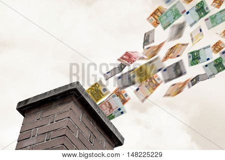 a lot of euros flies up the chimney