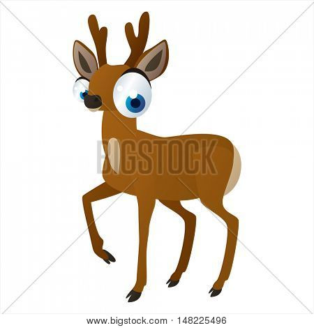 vector funny image of cute bright color animal. Roe deer