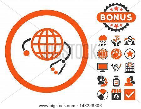 Global Medicine icon with bonus design elements. Vector illustration style is flat iconic bicolor symbols, orange and gray colors, white background.