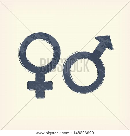 Gray sex man and woman sign icon, symbol , pale yellow background. Painted design element.