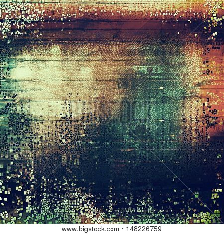Highly detailed scratched texture, aged grungy background. Vintage style composition with different color patterns: yellow (beige); brown; green; blue; red (orange); purple (violet)