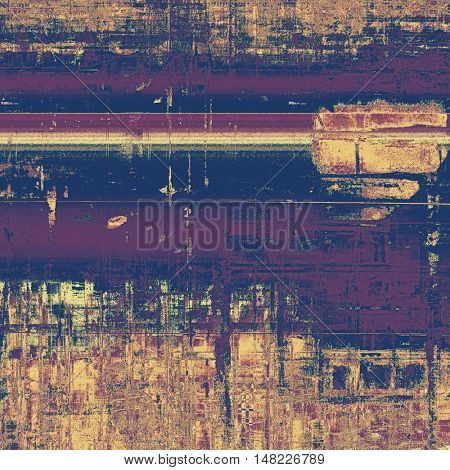 Grunge texture or background with retro design elements and different color patterns: yellow (beige); brown; purple (violet); pink