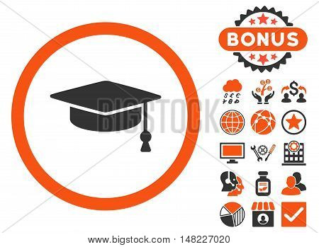 Graduation Cap icon with bonus symbols. Vector illustration style is flat iconic bicolor symbols, orange and gray colors, white background.