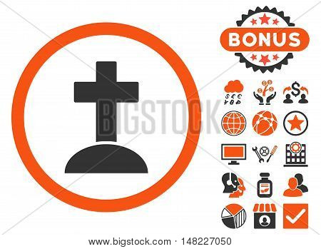 Grave icon with bonus elements. Vector illustration style is flat iconic bicolor symbols, orange and gray colors, white background.