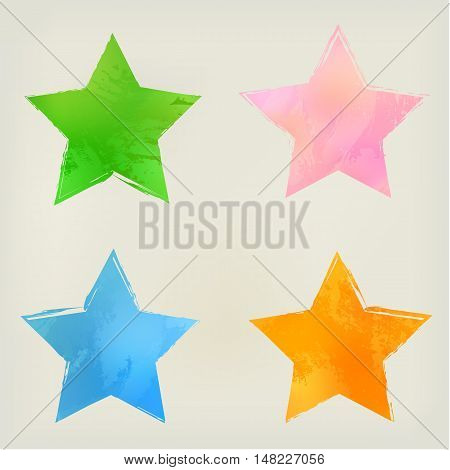 Watercolor stars shape splashes, green, blue orange pink