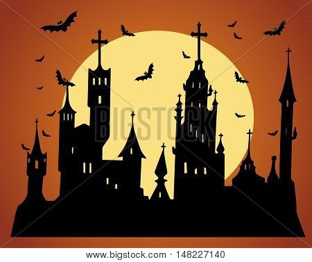 Happy Halloween background with castle orange color