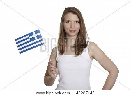 Attractive woman shows Greece flag and smiles in front of white background