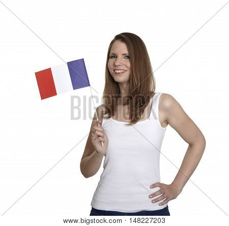 Attractive woman shows flag of France and smiles in front of white background