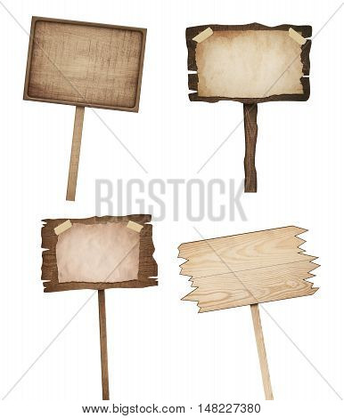 Old weathered brown wooden signs are isolated on white background.