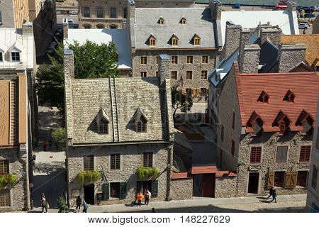 QUEBEC-CANADA 16 SEPT 2016:   Scenic view on old canadian houses in Old Quebec in Quebec city, Canada