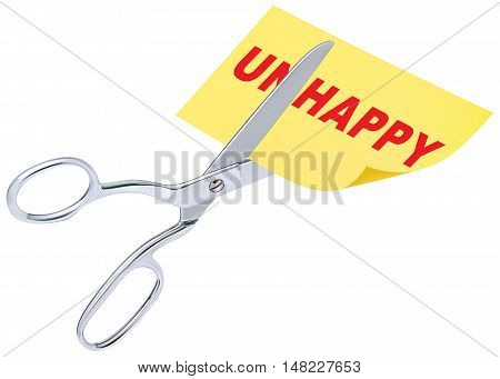 scissors remove the word unhappy to read happy concept for self belief positive attitude and motivation