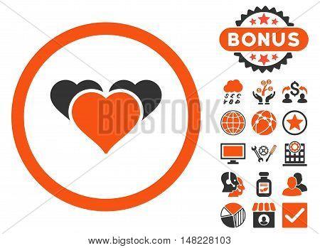Heart Favourites icon with bonus design elements. Vector illustration style is flat iconic bicolor symbols, orange and gray colors, white background.