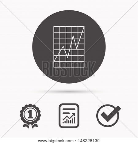 Chart curve icon. Graph diagram sign. Demand growth symbol. Report document, winner award and tick. Round circle button with icon. Vector