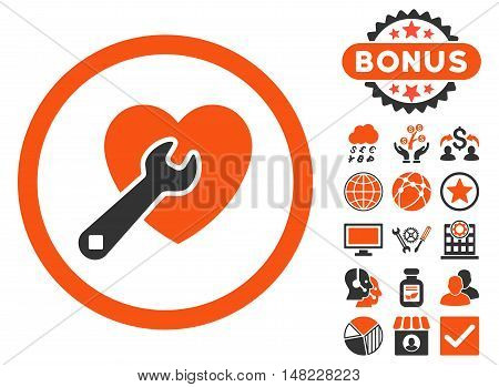 Heart Repair icon with bonus elements. Vector illustration style is flat iconic bicolor symbols, orange and gray colors, white background.