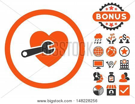 Heart Surgery icon with bonus design elements. Vector illustration style is flat iconic bicolor symbols, orange and gray colors, white background.