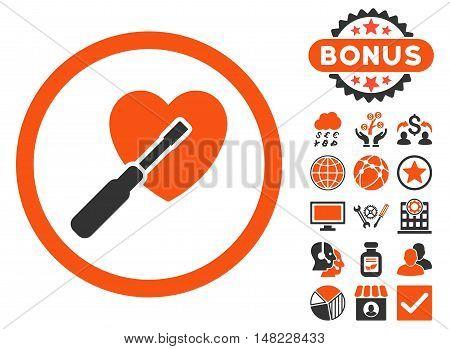 Heart Tuning icon with bonus symbols. Vector illustration style is flat iconic bicolor symbols, orange and gray colors, white background.