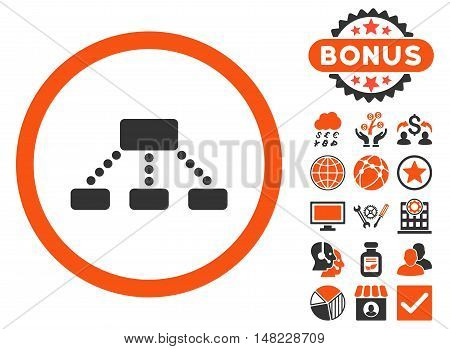 Hierarchy icon with bonus pictogram. Vector illustration style is flat iconic bicolor symbols, orange and gray colors, white background.