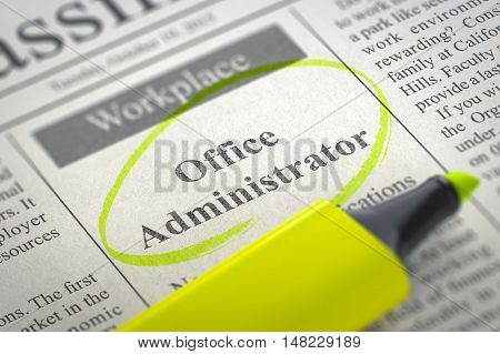 Newspaper with Advertisements and Classifieds Ads for Vacancy Office Administrator. Blurred Image. Selective focus. Job Seeking Concept. 3D Render.