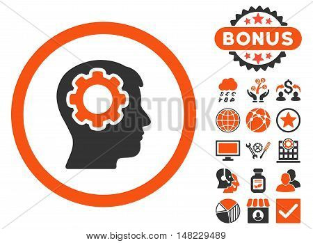 Human Mind icon with bonus images. Vector illustration style is flat iconic bicolor symbols, orange and gray colors, white background.