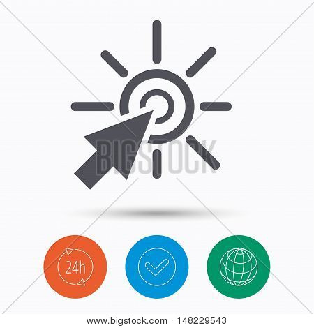 Click icon. Computer mouse cursor symbol. Check tick, 24 hours service and internet globe. Linear icons on white background. Vector