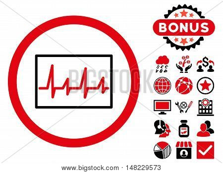 Cardiogram icon with bonus pictures. Vector illustration style is flat iconic bicolor symbols, intensive red and black colors, white background.