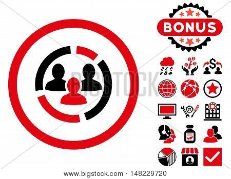 Demography Diagram icon with bonus images. Vector illustration style is flat iconic bicolor symbols, intensive red and black colors, white background.