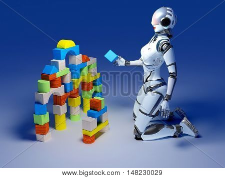 Robot builds a house out of blocks.,3d render